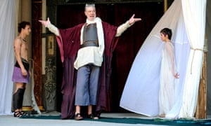 Paul Stocker, Matthew Kelly and Laura Pyper in Troilus and Cressida at Shakespeare's Globe