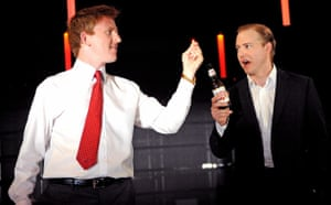 Tom Goodman-Hill and Samuel West in Enron at the Minerva theatre in Chichester