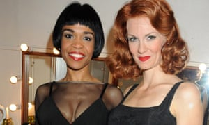 Chicago's Michelle Williams and Leigh Zimmerman in a dressing room at the Cambridge theatre