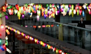 Christmas lights made of recycled plastic containers by British artist David Batchelor