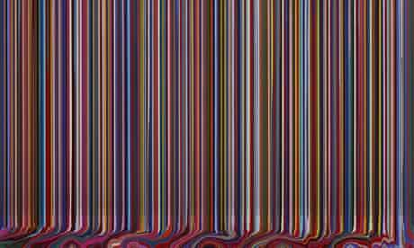 Puddle Painting: Black (Wave) by Ian Davenport (acrylic paint on stainless steel, 2009)