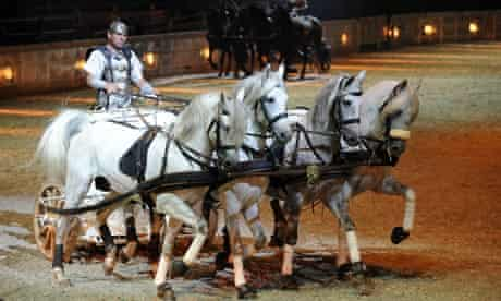 Chariot race scene from Ben Hur Live, at the  O2 Arena