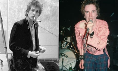 Bob Dylan and Johnny Rotten (John Lydon) of the Sex Pistols