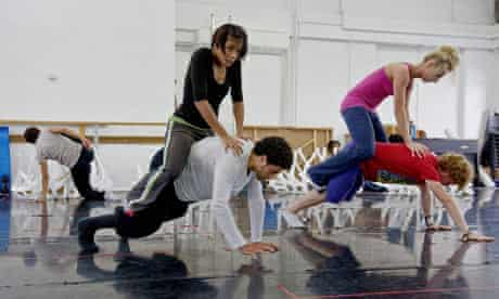 Dancers from the Rambert Dance Company rehearse The Comedy of Change