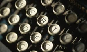 Keyboard of an old-fashioned typewriter