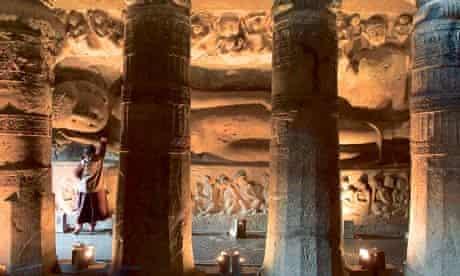 Reclining Buddha in a Chaitya Hall at Ajanta Caves