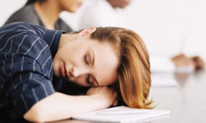 Narcolepsy -woman asleep at desk