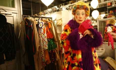 Sir Ian McKellen made up as Widow Twankey backstage at the Old Vic's 2005 production of Aladdin.