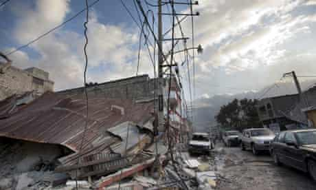 Buildings in downtown Port-au-Prince, Haiti, damaged by the earthquake