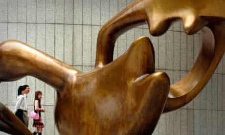 Henry Moore sculpture outside OCBC Centre, Singapore