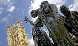 Auguste Rodin's sculpture The Burghers of Calais, outside Westminster, London