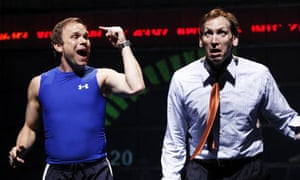 Norbert Leo Butz and Stephen Kunken at a dress rehearsal for Lucy Prebble's Enron
