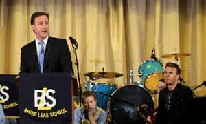 David Cameron Visits A School With Singer Gary Barlow