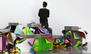 Jim Lambie's exhibit at the the Modern Institute, Glasgow International Festival of Visual Art