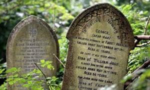 Gravestones at Arnos Vale cemetery in Bristol, England