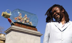 Artist Yinka Shonibare with his work for the fourth plinth, Nelson's Ship In a Bottle