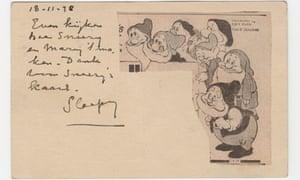 Piet Mondrian's postcard depicting the dwarves from Walt Disney's Snow White
