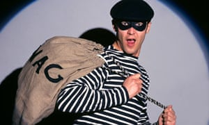 A bank robber in traditional costume