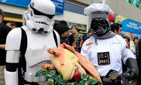 Chef Vader and a Star Wars storm trooper serve up some fantasy fare at Comic-Con 2010.