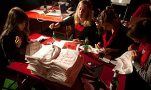 Sewing names on pillowcases at Serpentine gallery 'sleepover'