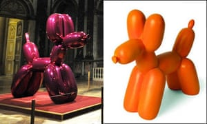 A Jeff Koons balloon dog on show at the Chateau de Versailles and one of the disputed bookends.