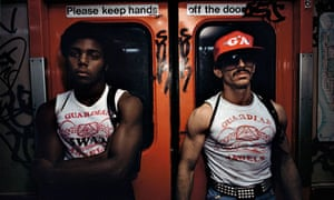 A Bruce Davidson photograph showing two members of the Guardian Angels on the New York subway