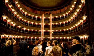 Arts protesters inside Rome's Teatro Valle