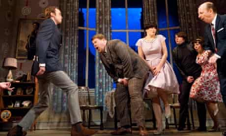 James Corden (centre) in One Man, Two Guvnors at the National's Lyttleton theatre in London.