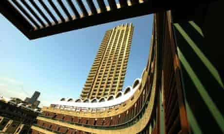 Shakespeare Tower, a housing block on the Barbican Estate, part of the Barbican centre, London.