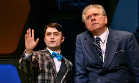 Daniel Radcliffe and John Larroquette in Broadway's How to Succeed in Business Without Really Trying