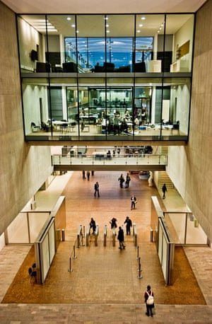Central Saint Martins' entrance lobby leading to the internal street
