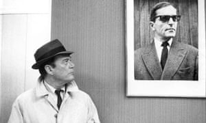 Shades of Orwell … Eddie Constantine (left) as Lemmy Caution in Alphaville (1965).