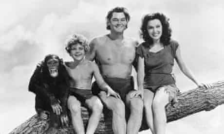 cast members including Johnny Weissmuller (second right).