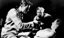 Charles Laughton directing Robert Mitchum and Peter Graves in The Night of the Hunter (1955)