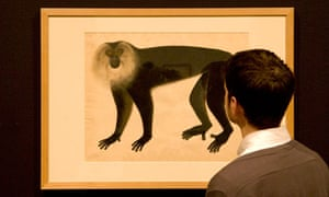 a water­colour of a ­lion-haired macaque (c1820s) by an anonymous Chinese school artist
