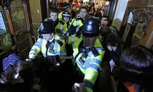 Police during London protest