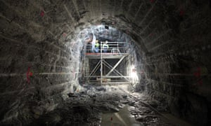 Workers dig the 5km-long Onkalo nuclear waste tunnels in Finland