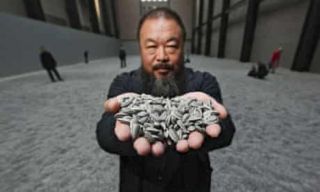 Ai Weiwei with his Tate Modern Turbine Hall installation Sunflower Seeds