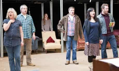 Kate Fleetwood (second from left) and the company rehearse London Road;