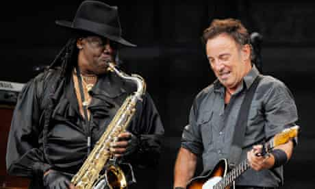 Clarence Clemons and Bruce Springsteen perform on the Working On a Dream tour in Germany