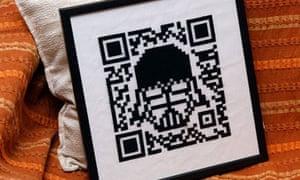 George Prentzas's Darth Vader QR code cross stitch