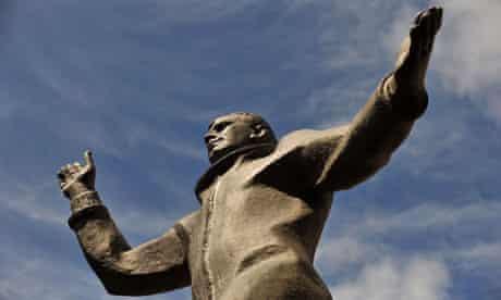 Rocket man ... a statue of Russian cosmonaut Yuri Gagarin outside the British Council in London.