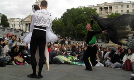 Emily Coates and friends perform BP White Swan in Trafalgar Square on 13 July.