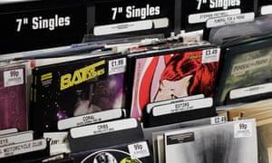 Seven inch singles forsale in HMV in London's Oxford Street