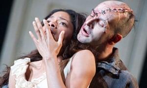 Naomie Harris and Jonny Lee Miller in Danny Boyle's Frankenstein at Olivier theatre