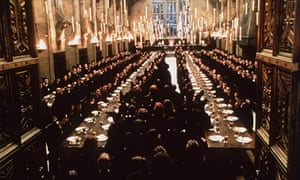 Film still from Harry Potter and the Philosopher's Stone, shwoing the Great Hall at Hogwarts