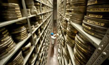Acetate film reels in the BFI archive in Hertfordshire