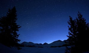 Stars in a clear night sky in Arosa, Switzerland