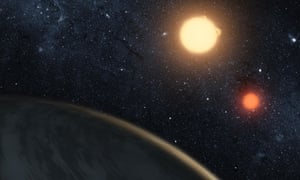 Nasa illustration of Kepler-16b with its two stars
