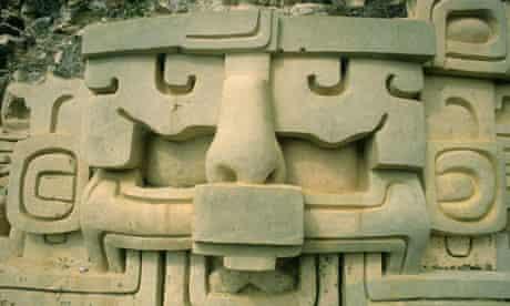 Astronomical frieze in Mayan ruins in Xunantunich, Belize